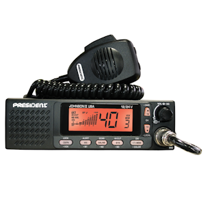 President (JOHNSON II USA)  - DIN Size, Multi-Function LCD Display with 3 Backlight Colors, Front Speaker, Weather, 12/24 Volt, Black, AM/PA, 40 Channel, Mobile CB Radios