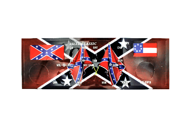Freedom Faceplates (25-CF2) - Cobra 25LTD Classic, Rebel Flag, With Front Mic Jack, Radio Faceplates