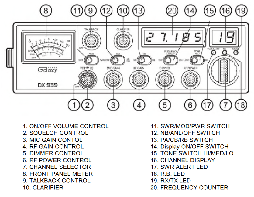 40 Channel Cb Frequency Chart : Galaxy dx transceiver with starlite face plate