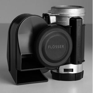~Flosser/Stebel Nautilus (EH-CYCLEB) Compact Black Dual-Tone Motorcycle Air Horn, Nautilus Tuning, 12V, Air Horns
