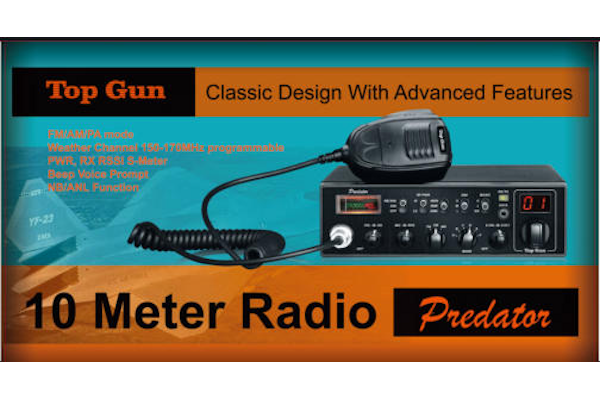 Top Gun Technologies (Predator) - AM/FM/PA/WX, Black, 10