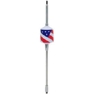 "Wilson (305-FLAG) - Trucker 2000 Series, Tunable, 10"" Shaft, 49"" Whip, White Coil with USA Flag, 3500 Watt, 26 MHz to 30 MHz, Center Loaded, Mobile CB Antennas"