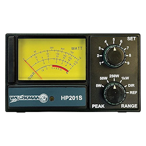 Workman (#HP201S) - SWR/Watt Meter, 1 to 1000 Watt Range, 26-30 MHz, Lighted Meter, Peak Reading, Meter
