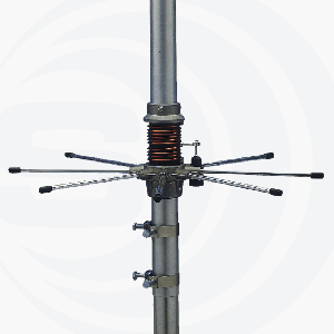 "Sirio Antenne (PN 2104801.00) - ""827"" - Hi-Tech Omni-Directional Aluminium Alloy 10 m to 11 m Base Antenna, 1000 Watts, 5/8 Wave Linear Vertical Polarization, 26.4 to 28.4 MHz, Tunable Base, 4 Section, 21.98' Tall, Base CB Antennas"
